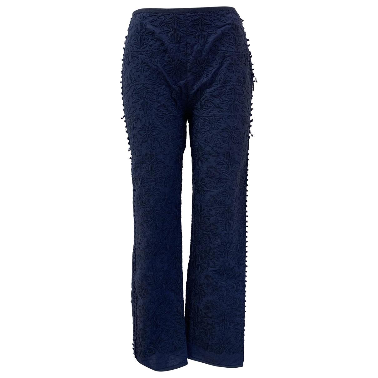 Philosophy Di Alberta Ferretti \N Navy Cotton Trousers for Women 40 IT