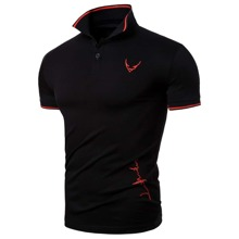 Men Contrast Binding Embroidered Polo Shirt