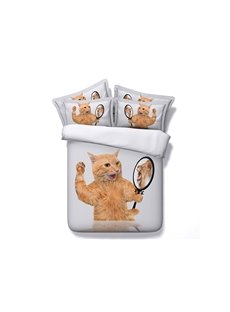Cat Seeing lion in Mirror Printed Cotton 3D 4-Piece White Bedding Sets