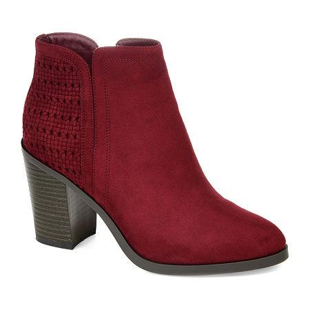 Journee Collection Womens Jessica Stacked Heel Booties, 7 1/2 Medium, Red