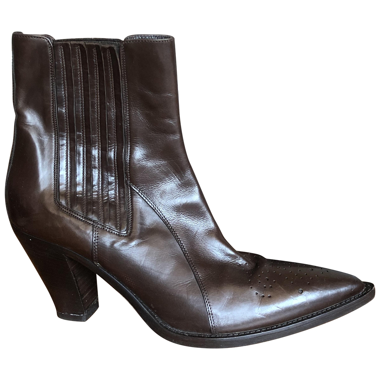 Non Signé / Unsigned \N Brown Leather Ankle boots for Women 38.5 EU