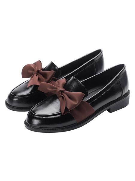 Milanoo Women Black Loafers Round Toe Bow PU Leather Slip On Shoes