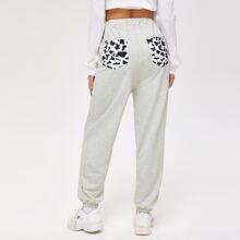 Cow Print Pocket Sweatpants