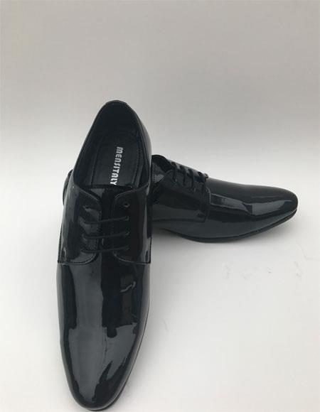 Men's Tuxedo Black Plain Toe Lace Up Style Formal Shiny Dress Shoes