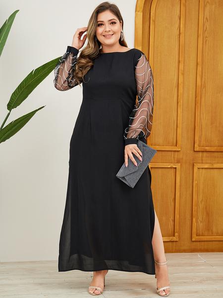 YOINS Plus Size Black Backless Design Patchwork Dress