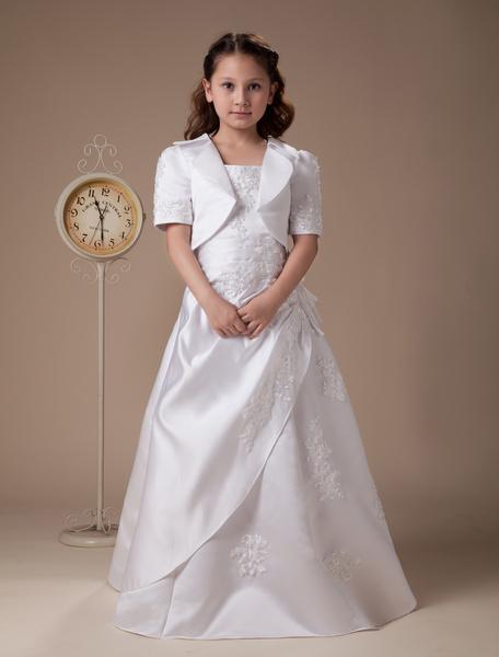 Milanoo White Vest Pleated Embroidery Satin Flower Girl Dress