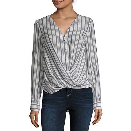 a.n.a Womens Long Sleeve Relaxed Fit Button-Down Shirt, Medium , Blue