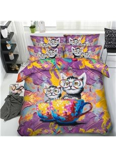 3D Cute Cat in the Tea Cup Printed 4-Piece Bedding Sets/Duvet Covers