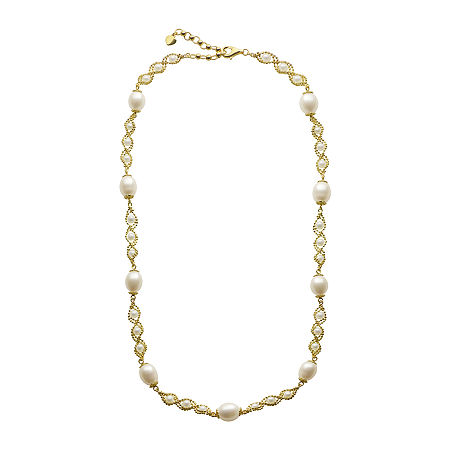 Cultured Freshwater Pearl 14K Gold Over Sterling Silver Brilliance Bead Necklace, One Size , No Color Family