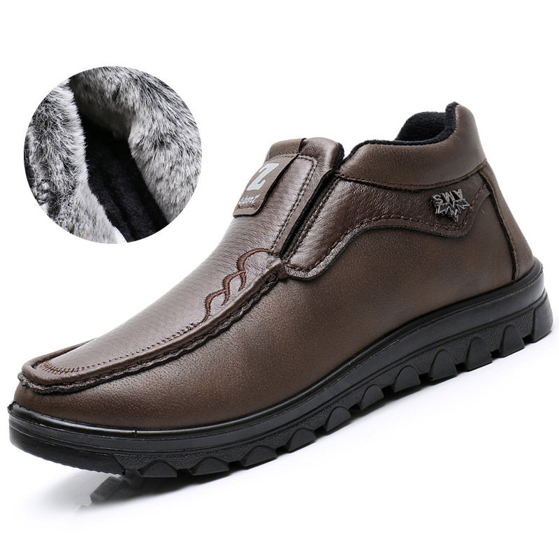 Men Old Peking Style Comfort Warm Lining Slip On Casual Shoes