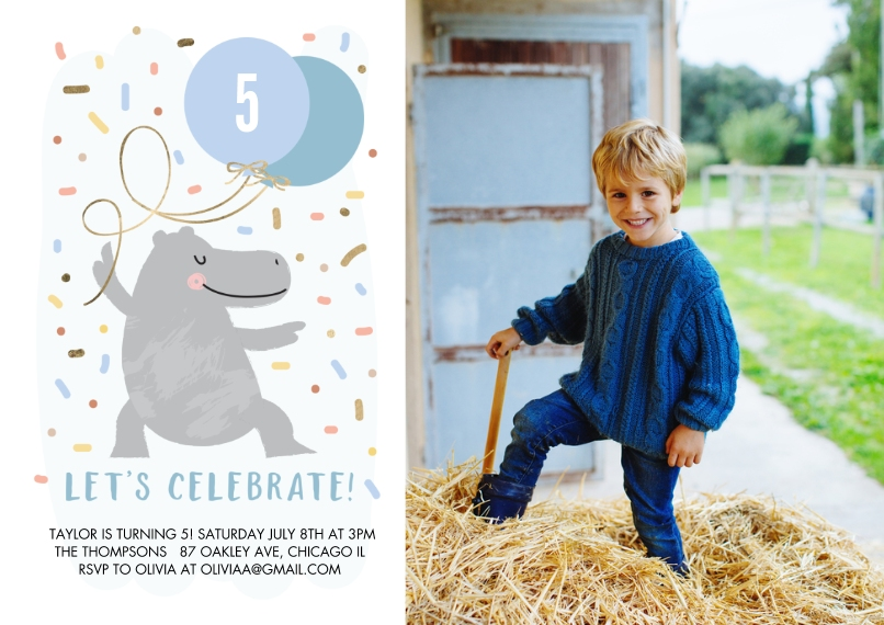 Kids Birthday Party 5x7 Cards, Standard Cardstock 85lb, Card & Stationery -Birthday Party Dancing Hippo by Tumbalina