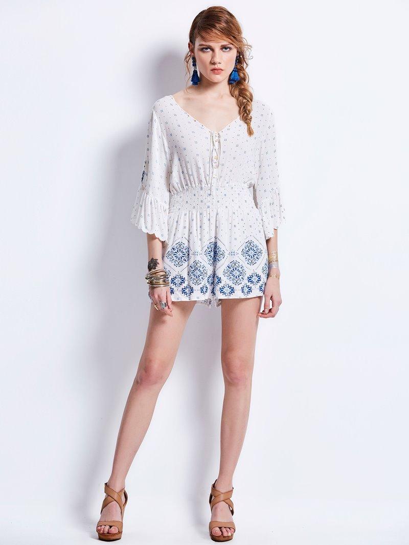 Mid-Waist Slim Flower Print Jumpsuit