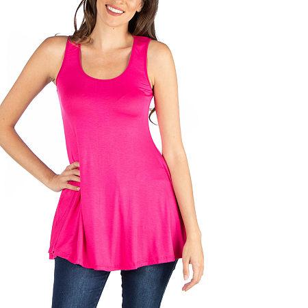 24/7 Comfort Apparel Scoop Neck Sleeveless Tunic Top, Medium , Pink