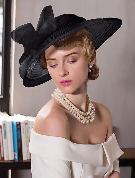 Milanoo Retro Hat Women Costume Accessories Ecru White Bows Royal Vintage Headpieces
