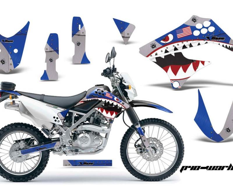 AMR Racing Dirt Bike Graphics Kit Decal Sticker Wrap For Kawasaki KLX125 2010-2016áWARHAWK BLACK