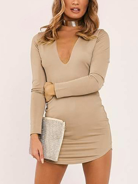 Yoins Khaki Deep V-neck Long Sleeves Curved Hem Mini Dress