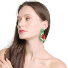 Beaded Watermelon Design Earrings