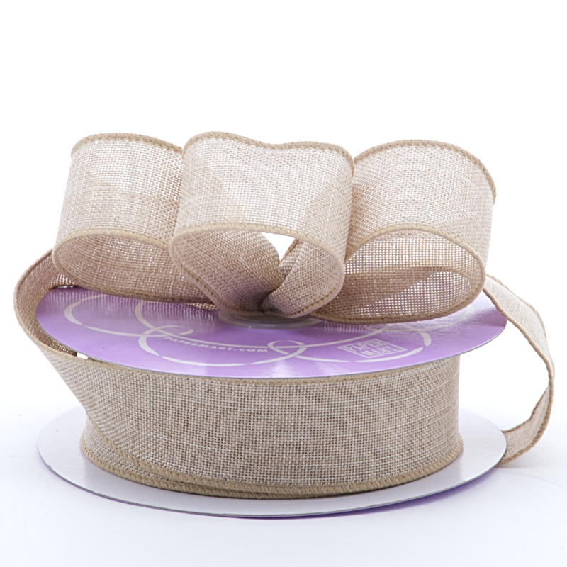 2 1/2 X 10 Yards Polyester Colored Light Natural Brandford Heavy Weave Ribbon by Ribbons.com
