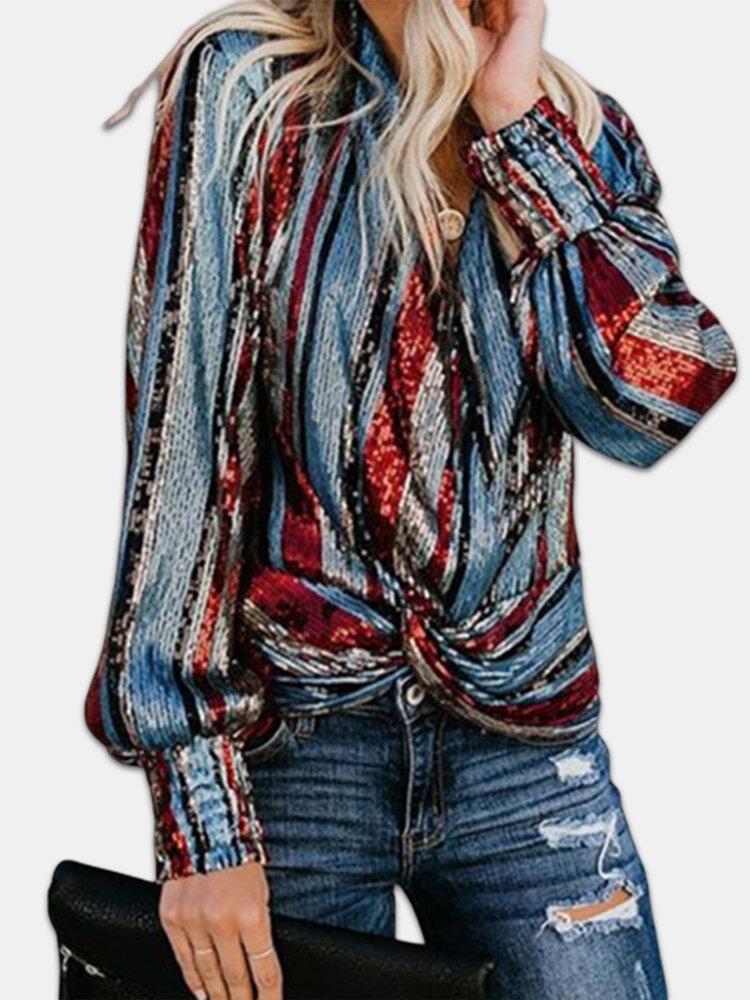Multi-striped Front Wrap Long Sleeve Plus Size Blouse