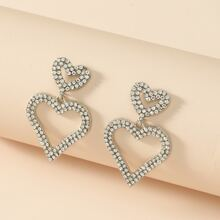 Rhinestone Decor Heart Drop Earrings