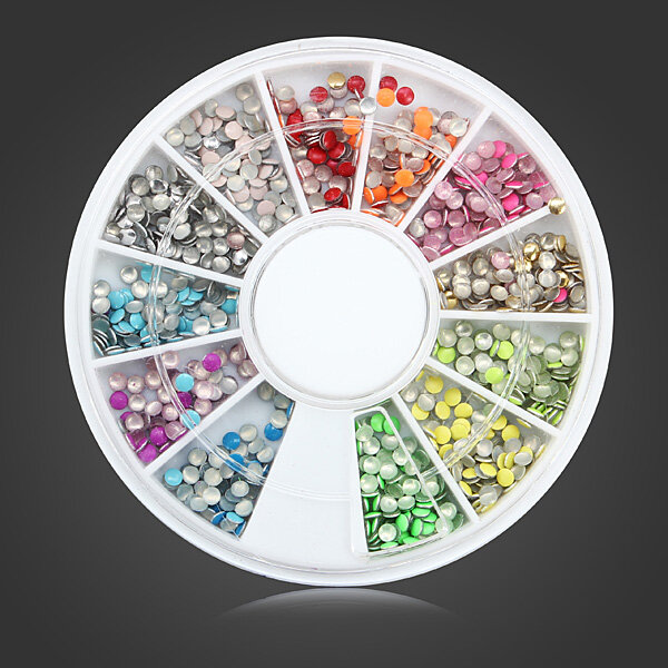 2MM Fluorescence Color Round Punk Metal Stud DIY Nail Art Decoration Wheel