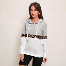Colorblock Contrast Leopard Drawstring Hoodie