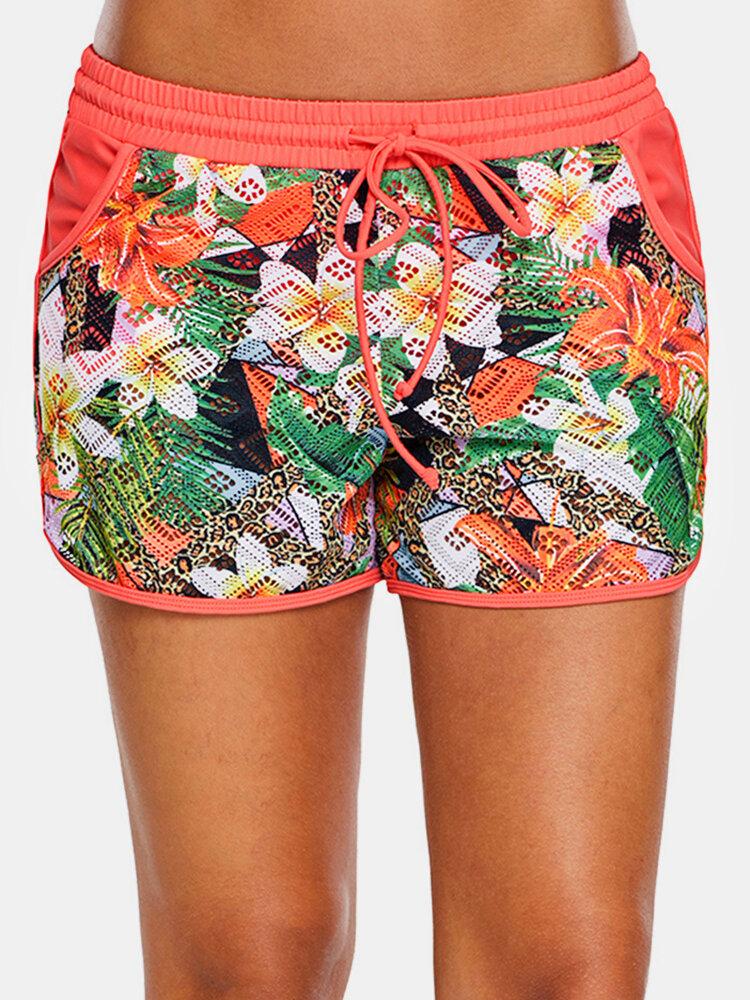 Women Plant Print Drawstring Beach Shorts With Contrast Binding