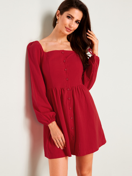 Yoins Red Single-breasted Design Plain Square Neck Long Sleeves Mini Dress