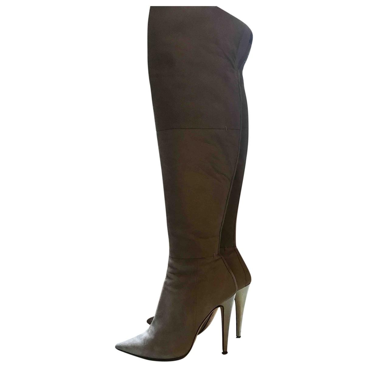 Giampaolo Viozzi \N Grey Leather Boots for Women 39 EU