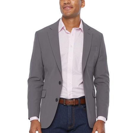 Stafford Performance Travel Mens Stretch Slim Fit Sport Coat, 50 Long, Gray