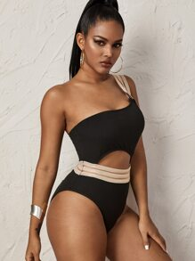 Rib Contrast Mesh Cut-out One Piece Swimsuit