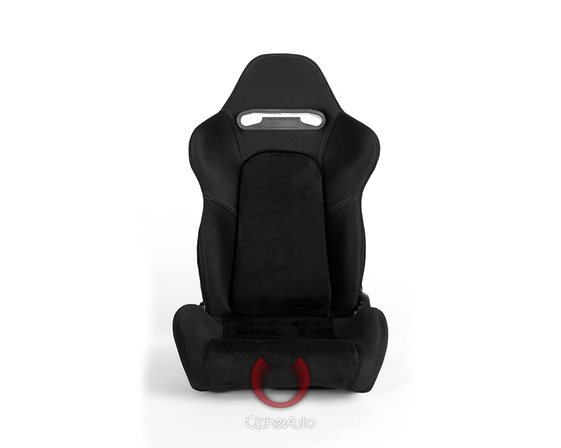 Cipher Auto CPA1019FSDBK-G Black Cloth w/ Suede Insert And Gray Stitching Racing Seats - Pair