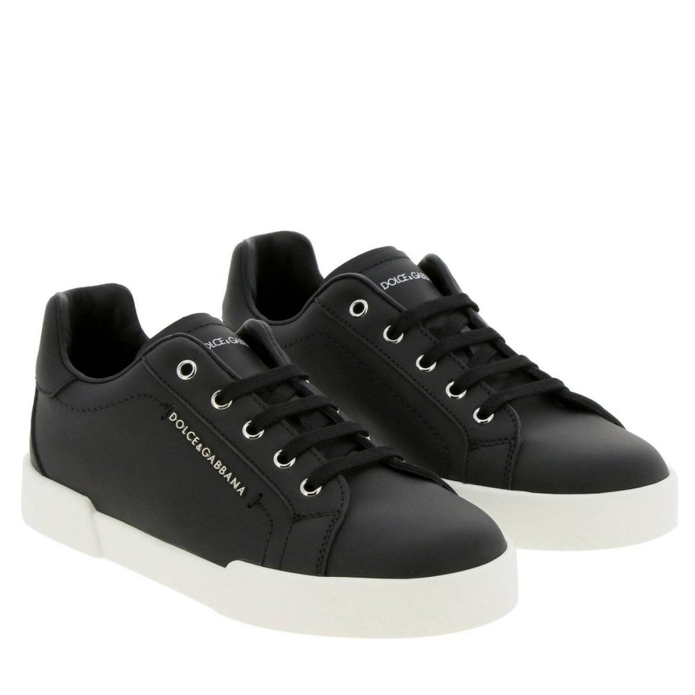 Dolce & Gabbana Black Leather Trainers Colour: BLACK, Size: 32