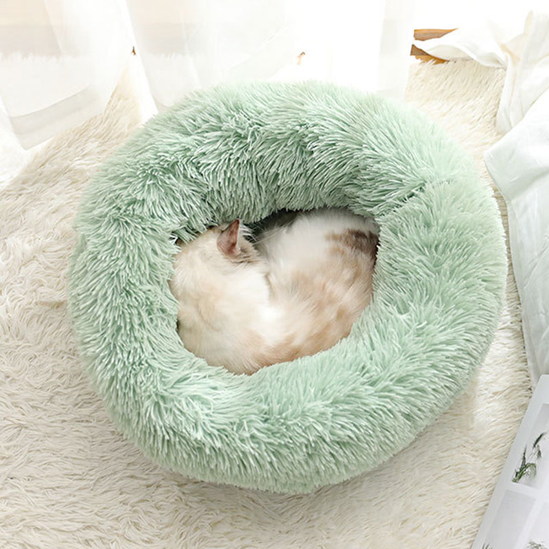 BODISEINT Modern Soft Plush Round Pet Bed for Cats or Small Dogs, Mini Medium Sized Dog Cat Bed Self Warming Autumn Wint