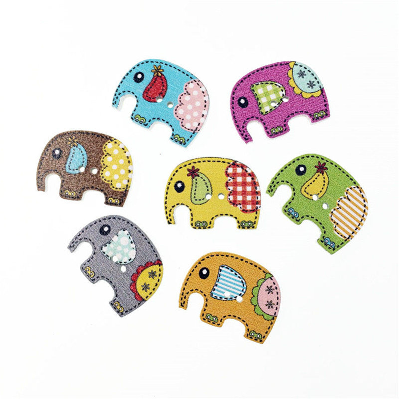 50 Pcs 25x19mm Cute Wood Sewing Scrapbooking Elephant Buttons Children DIY Crafts