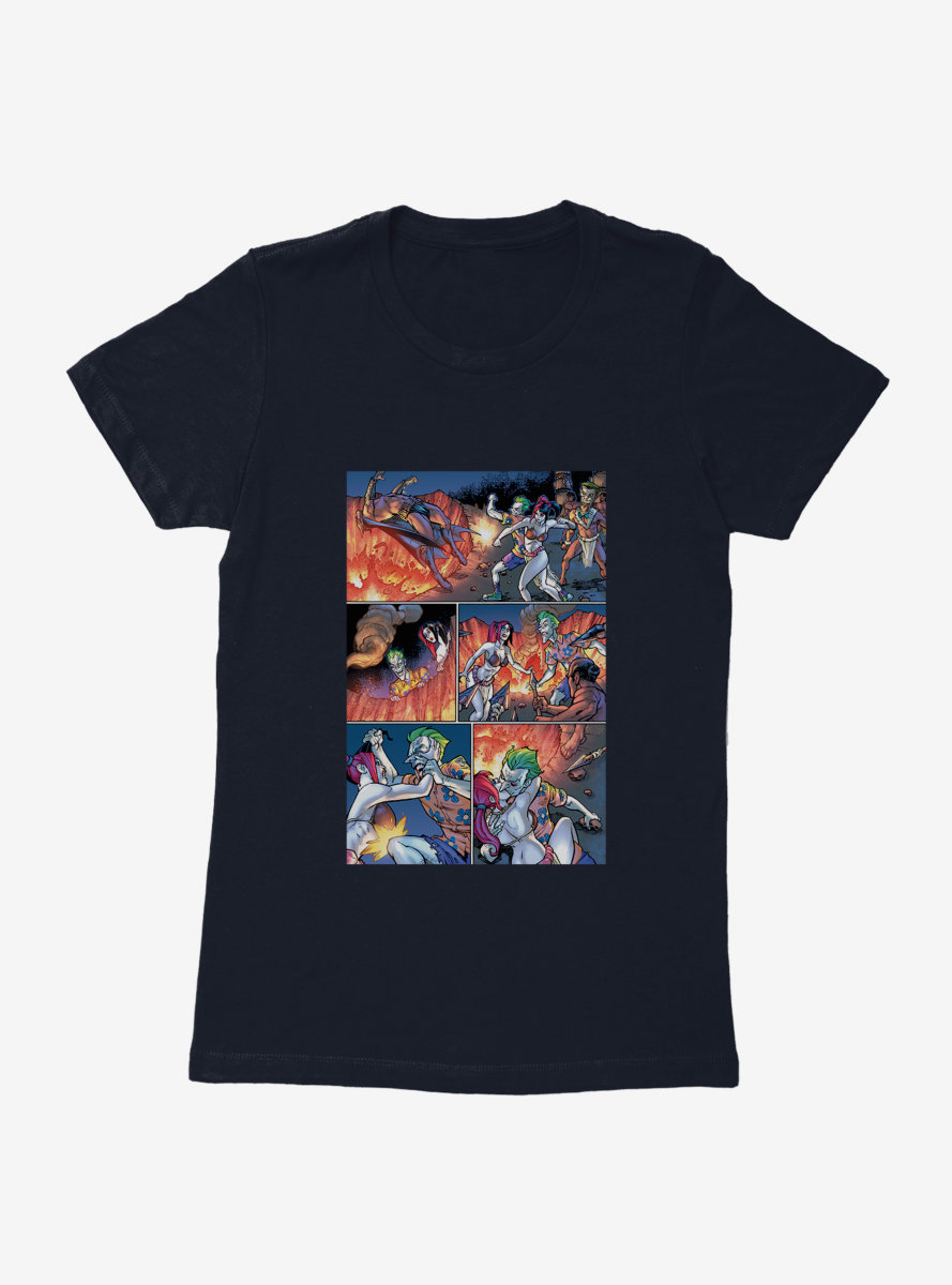DC Comics Batman The Joker And Harley Fight Comic Strip Womens T-Shirt