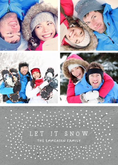 Holiday Photo Cards 5x7 Folded Cards, Premium Cardstock 120lb, Card & Stationery -Snow Collage