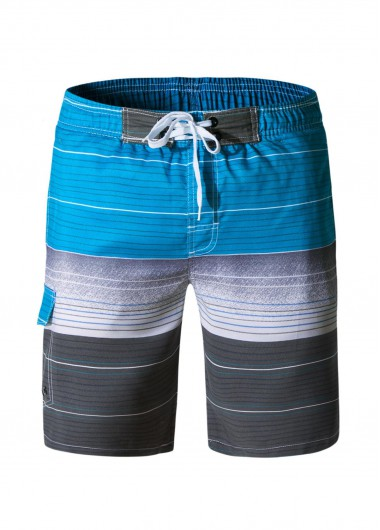 Bermuda Shorts Men's Quick Dry Swim Trunks with Mesh Lining Gradient Stripe Beach Shorts - L