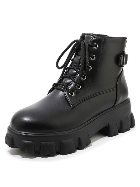 Milanoo Women Flatform Combat Boots Lace Up Round Toe 2.4 Booties
