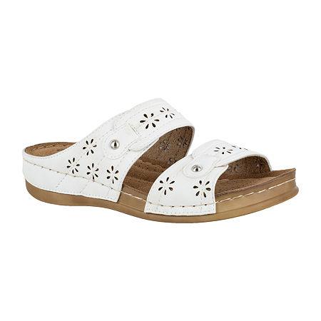Easy Street Womens Slide Sandals, 7 1/2 Medium, White