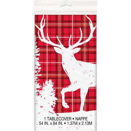 Plaid Deer Christmas Rectangular Plastic Table Cover, 54