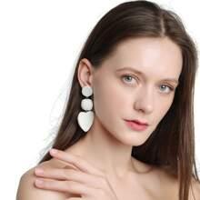 Bead Heart Drop Earrings