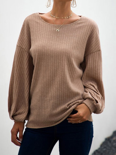 Milanoo Women Pullover Sweater Round Neck Long Sleeve Casual Sweater