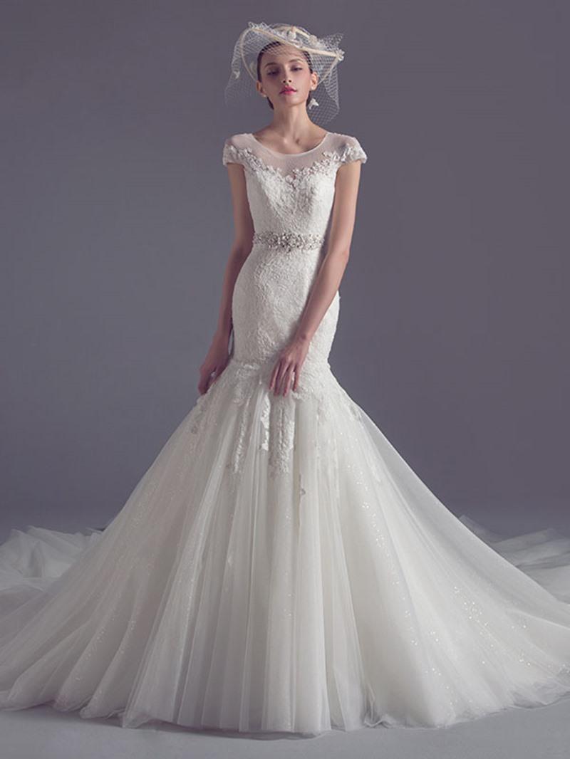 Ericdress Cap Sleeve Beading Lace Mermaid Wedding Dress
