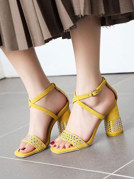 Milanoo Prom Shoes Suede Open Toe Rhinestones Criss Cross Block Heel Sandals