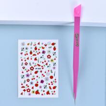 Flower Pattern Nail Sticker & Tweezers