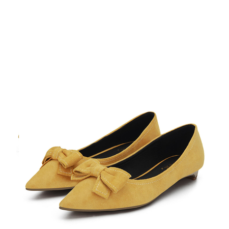Yoins Yellow Bowknot Pointed Toe Suede Flat Shoes