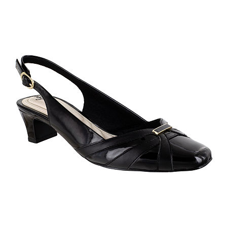 Easy Street Womens Pilar Pumps Block Heel, 9 1/2 Wide, Black