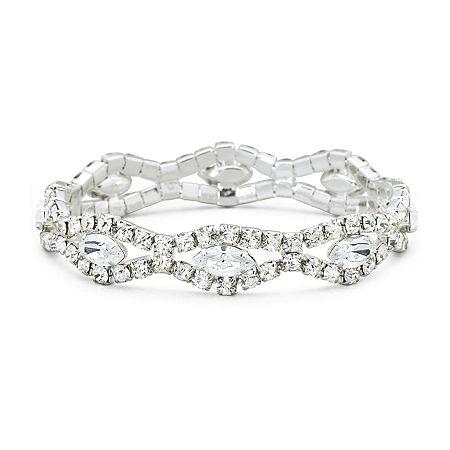 Vieste Rhinestone Silver-Tone Stretch Bracelet, One Size , White