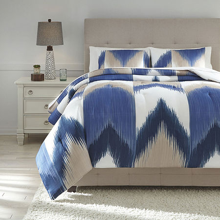 Signature Design by Ashley Mayda Midweight Comforter, One Size , Blue